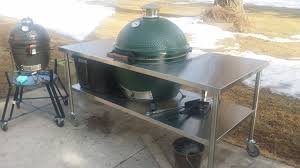large green egg table new xl stainless steel table big green egg egghead forum the