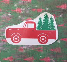 Classic Ford Truck Decals - red vintage truck with christmas trees old truck with