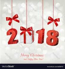 new year box new year background with a 2018 and a gift box vector image