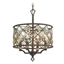 elk lighting armand weathered bronze pendant light with drum shade