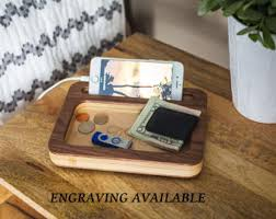 Desk Valet Charging Station Men U0027s Valet Tray Personalized Gift Gift For Men Wood