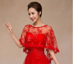 aliexpress com buy wedding party evening dress red lace ponchos