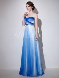 royal blue sweetheart neck beading a line chiffon evening dress