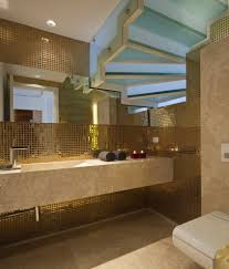 prestigious nuance contemporary bathroom using gold themed prestigious nuance contemporary bathroom using gold themed mosaic tile combined with granite countertop and long wall mirror