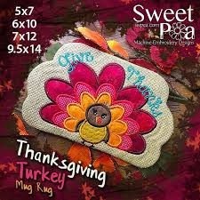 embroidery applique design thanksgiving turkey mug rug sweet pea