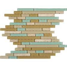 random bricks aqua glass and stone random brick tile glossy