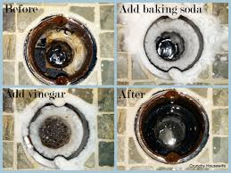 clogged bathroom sink baking soda vinegar diy drain cleaner elbow grease crunchy housewife