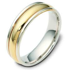 two tone wedding rings f119591 14k two tone wedding band