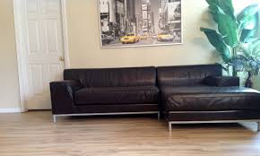 Ikea Sofa Chaise Lounge by Ikea Kramfors Lshape Genuine Leather Sectional Youtube