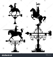 Bull Weathervane Weather Vane Collection Knights Riding Horses Stock Vector