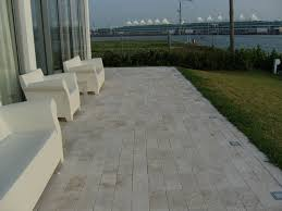 ivory travertine deck tiles and pavers modern patio miami