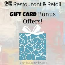 gift card offers 25 restaurant retail gift card bonus offers for 2016 the