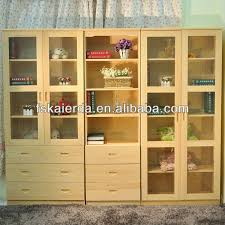 Wooden Bookcase With Glass Doors Bookcase With Glass Doors And Drawers Miketechguy