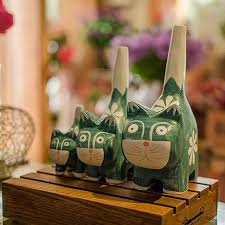 buf 3pcs set modern abstract green wooden cats statue ornaments