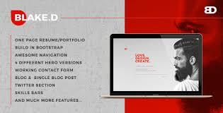 Bootstrap Resume Template Blaked Portfolio U0026 Resume Template By Egotype Themeforest