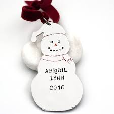 personalized custom christmas tree ornament snowman jessie