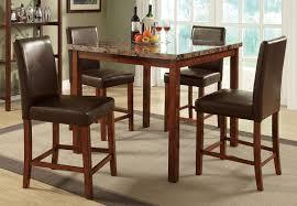 Dark Oak Wood Furniture Bar Height Dining Table Set Dark Walnut Counter Height Dining