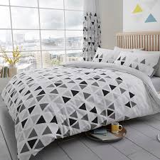 triangle bedding geo triangle king size duvet cover set reversible geometric
