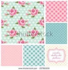 Shabby Chic Rose by Shabby Chic Rose Patterns Seamless Backgrounds Stock Vector