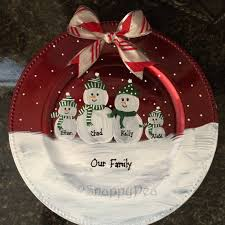 personalized painted decorative snowman family charger