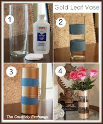 Diy Wine Bottle Vases Diy Gold Leaf Vase How To Paint On Glass