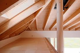 65 sqm modern simple house design made of wood with steel pipes skylight window above attic space installation idea