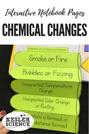 chemistry interactive notebook pages chemical change science