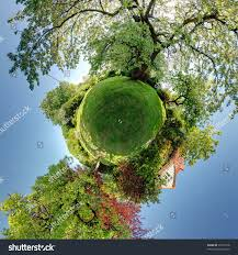 garden planet 360 panoramic trees shrubs stock photo 30217618