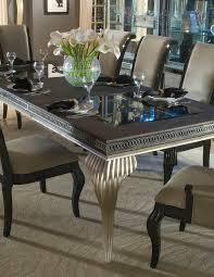 Silver Dining Chairs Swank Dining Table In Black Silver Finish By Aico Aico
