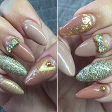 acrylic nails with gel polish 3d nail charms glitter gold