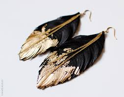 how to make feather earrings with leather feather earrings black leather dipped in gold black