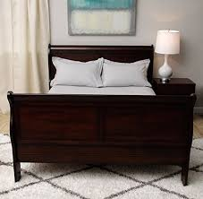 queen size sleigh bed cherry wood finish bedroom furniture