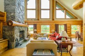 contemporary log home interior design shutterstock 159205520