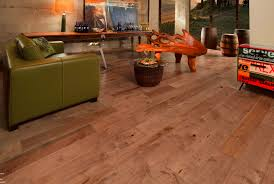 wide plank reclaimed distressed wood flooring for small living