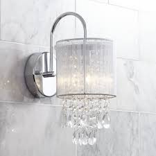 crystal sconces for bathroom possini euro silver line 12 h chrome and crystal sconce possini