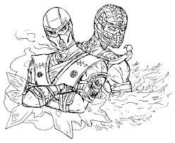 scorpion and sub zero coloring pages bltidm