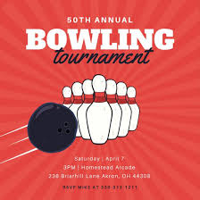 red pin and ball illustrations bowling invitation templates by canva