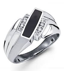 new mens rings images New solid 10k white gold black onyx diamond mens ring men 39 s jpg