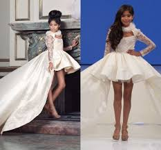 Flower Girls Dresses For Less - isabella lace long sleeves flower dresses 2016 high low