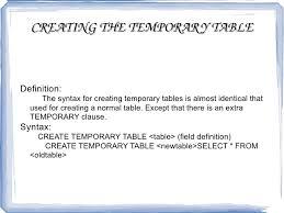 Create Temporary Table Mysql