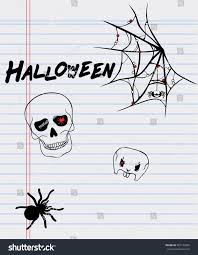 halloween drawings on sheet paperspider skull stock vector