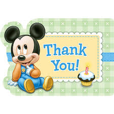 birthday thanksgiving message disney mickey 1st birthday thank you notes birthdayexpress com