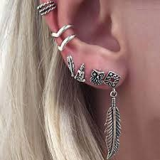 best earrings for cartilage bohemian steunk earring set antique silver plated owl leaf clip