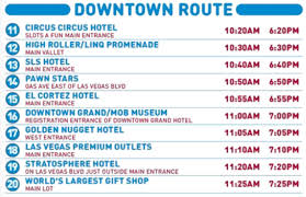 Downtown Las Vegas Map by Las Vegas Avenue Guide Big Bus Tourist Bus