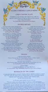 Blue Table Menu Cinderella U0027s Royal Table Allergy Friendly Lunch Menu