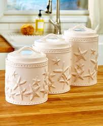 new set of 3 seaside starfish coastal beach kitchen countertop freshen up the look of your kitchen with this attractive seaside countertop collection each piece has a natural look with embossed starfish set of 3