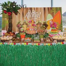 meidding hawaiian luau grass table skirt decorations hula tropical