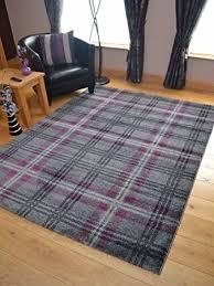 rugs uk modern modern soft purple tartan highland check rugs 120cm x 170cm