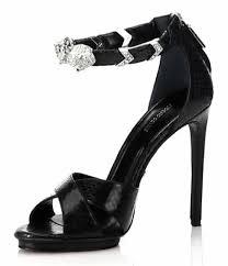 black sandals roberto cavalli tiger cuff snake embossed leather black sandals on