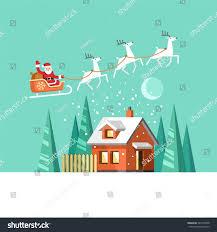 santa claus on sleigh his reindeers stock vector 341059538